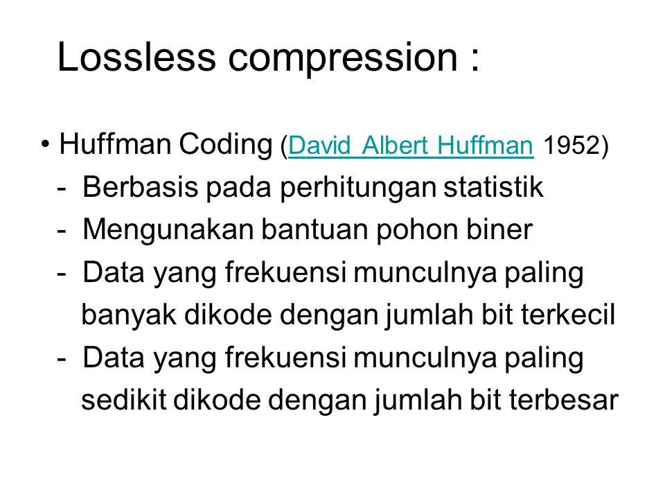 Lossless compression : Huffman Coding (David Albert Huffman 1952)David Albert Huffman - Berbasis pada perhitungan statistik - Mengunakan bantuan pohon
