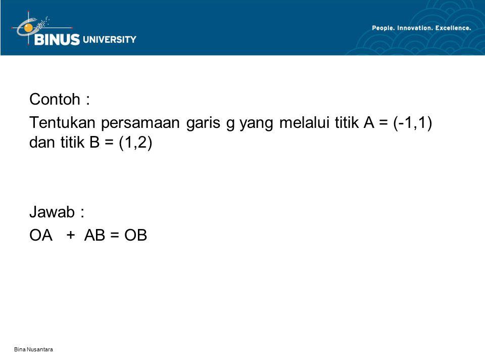 Bina Nusantara Contoh : Tentukan persamaan garis g yang melalui titik A = (-1,1) dan titik B = (1,2) Jawab : OA + AB = OB