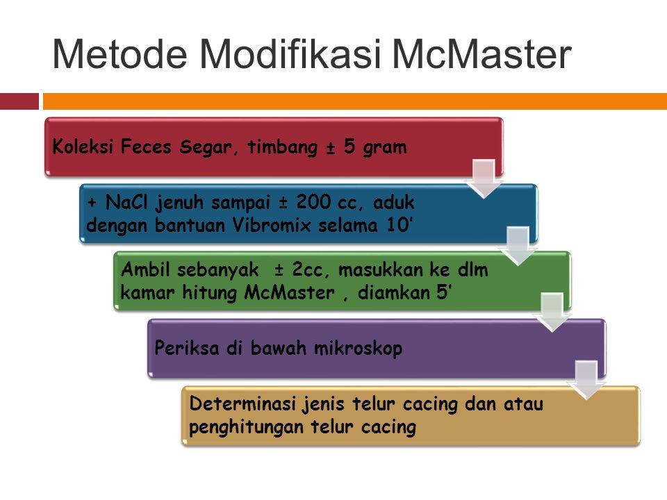 Metode Modifikasi McMaster Koleksi Feces Segar, timbang ± 5 gram + NaCl jenuh sampai ± 200 cc, aduk dengan bantuan Vibromix selama 10' Ambil sebanyak