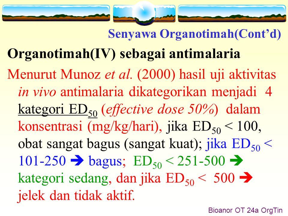 Bioanor OT 24b OrgTin Hasil yang diperoleh oleh  Hansch and Verma (2009), nilai ED 50 beberapa senyawa organotimah(IV) karbosilat menghasilkan nilai ED 50 6,2 sampai 32,7 mg/kg/hari.
