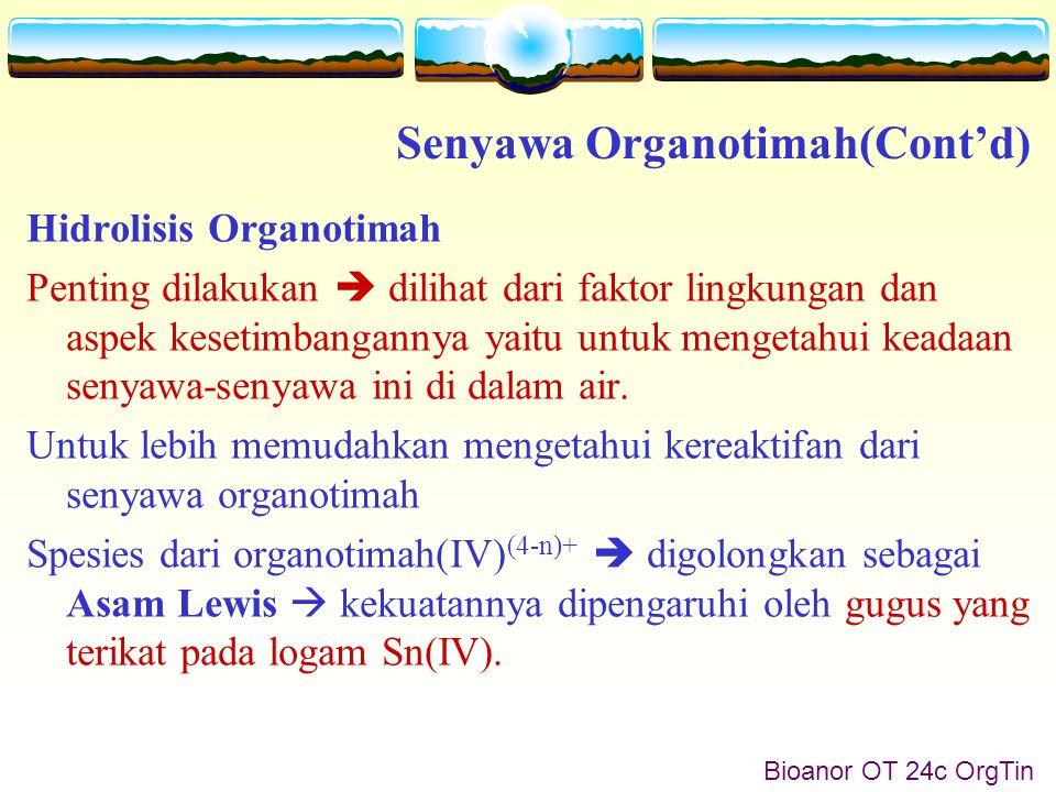 Bioanor OT 25 OrgTin Karena bersifat Asam Lewis  senyawa golongan ini  menunjukkan kecenderungan untuk mengalami hidrolisis.