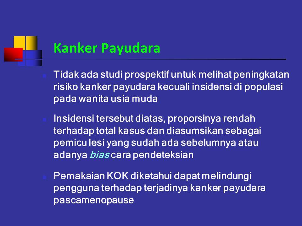 Kanker Payudara Tidak ada studi prospektif untuk melihat peningkatan risiko kanker payudara kecuali insidensi di populasi pada wanita usia muda Inside