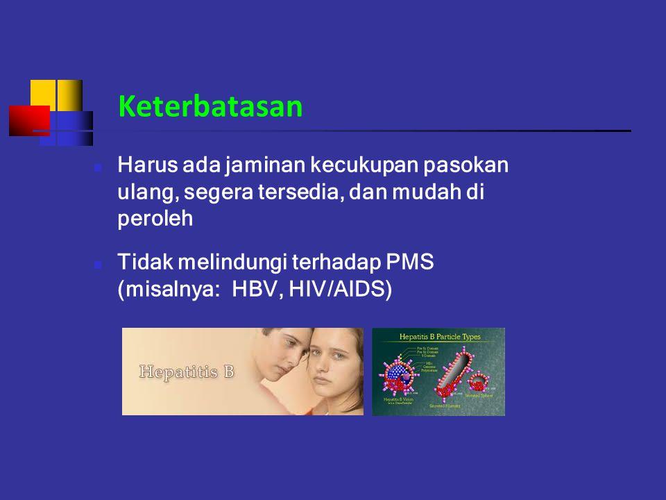 Keterbatasan Harus ada jaminan kecukupan pasokan ulang, segera tersedia, dan mudah di peroleh Tidak melindungi terhadap PMS (misalnya: HBV, HIV/AIDS)