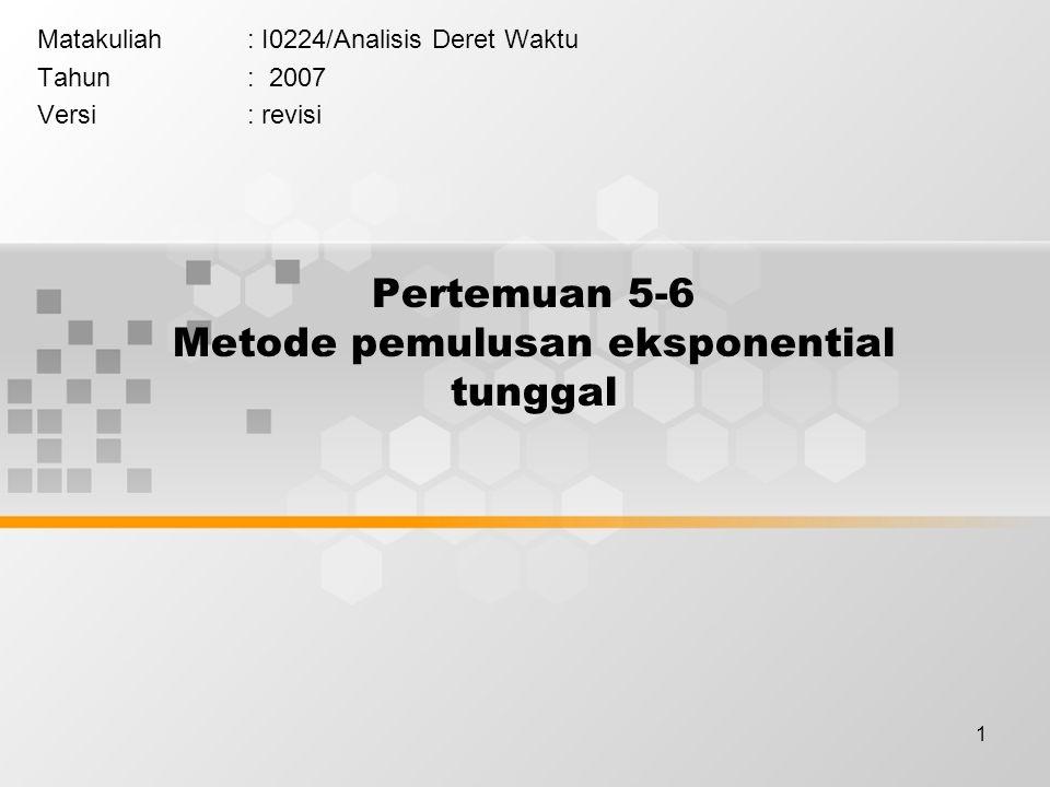 1 Pertemuan 5-6 Metode pemulusan eksponential tunggal Matakuliah: I0224/Analisis Deret Waktu Tahun: 2007 Versi: revisi