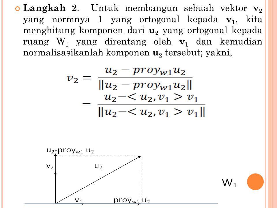 Langkah 2. Untuk membangun sebuah vektor v 2 yang normnya 1 yang ortogonal kepada v 1, kita menghitung komponen dari u 2 yang ortogonal kepada ruang W