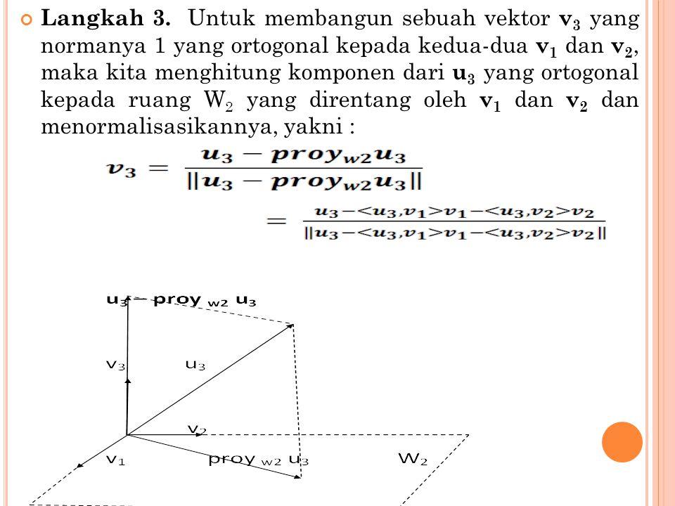 Langkah 3. Untuk membangun sebuah vektor v 3 yang normanya 1 yang ortogonal kepada kedua-dua v 1 dan v 2, maka kita menghitung komponen dari u 3 yang