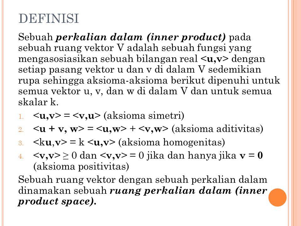 DEFINISI Sebuah perkalian dalam (inner product) pada sebuah ruang vektor V adalah sebuah fungsi yang mengasosiasikan sebuah bilangan real dengan setia