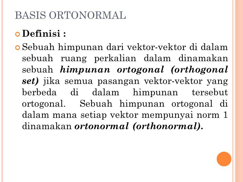 BASIS ORTONORMAL Definisi : Sebuah himpunan dari vektor-vektor di dalam sebuah ruang perkalian dalam dinamakan sebuah himpunan ortogonal (orthogonal s