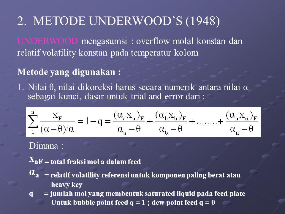 2. METODE UNDERWOOD'S (1948) UNDERWOOD mengasumsi : overflow molal konstan dan relatif volatility konstan pada temperatur kolom Metode yang digunakan