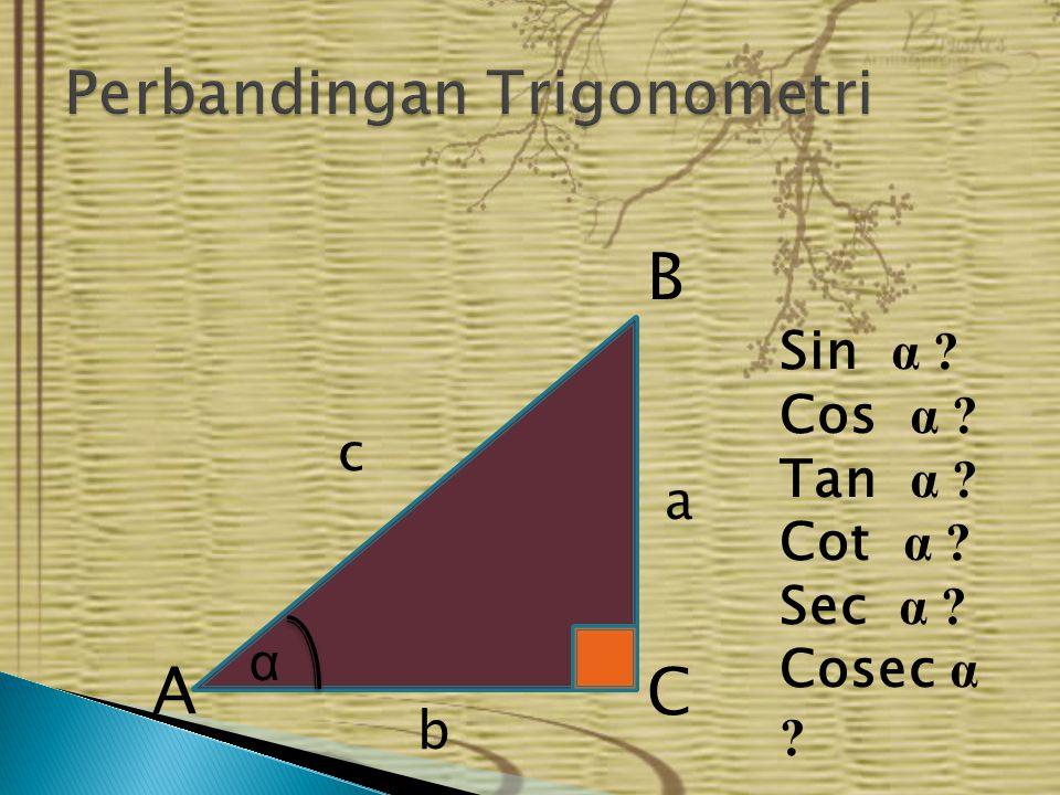 α A B C a c b Sin α ? Cos α ? Tan α ? Cot α ? Sec α ? Cosec α ?