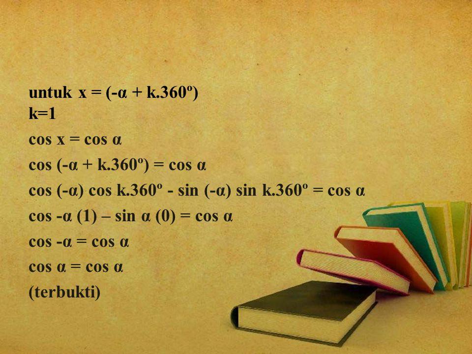 x Y - Cos (α + k.360 º) = y r cos x = cos α - Cos (α + k.360 º) = -y r cos x = cos –α cos x = cos α