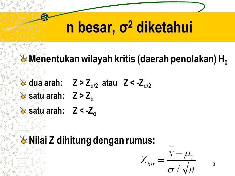4 n besar, σ 2 tidak diketahui Menentukan wilayah kritis (daerah penolakan) H 0 dua arah: Z > Z α/2 atau Z < -Z α/2 satu arah: Z > Z α satu arah: Z < -Z α Nilai Z dihitung dengan rumus: