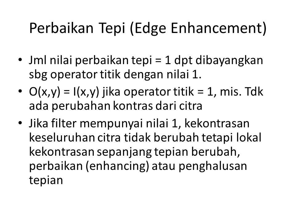 Perbaikan Tepi (Edge Enhancement) Jml nilai perbaikan tepi = 1 dpt dibayangkan sbg operator titik dengan nilai 1.