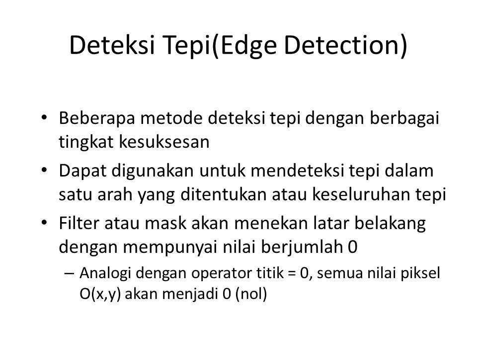 Deteksi Tepi(Edge Detection) Beberapa metode deteksi tepi dengan berbagai tingkat kesuksesan Dapat digunakan untuk mendeteksi tepi dalam satu arah yang ditentukan atau keseluruhan tepi Filter atau mask akan menekan latar belakang dengan mempunyai nilai berjumlah 0 – Analogi dengan operator titik = 0, semua nilai piksel O(x,y) akan menjadi 0 (nol)