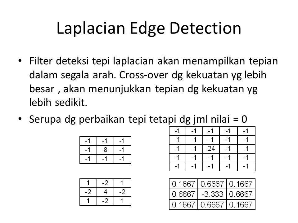 Laplacian Edge Detection Filter deteksi tepi laplacian akan menampilkan tepian dalam segala arah.