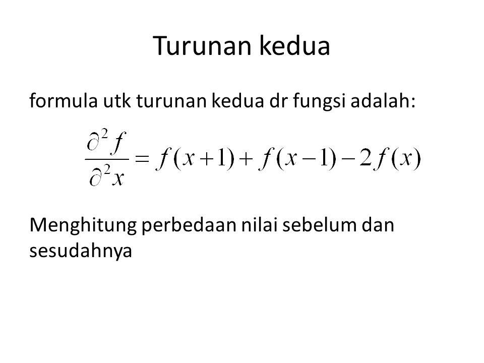 Turunan kedua formula utk turunan kedua dr fungsi adalah: Menghitung perbedaan nilai sebelum dan sesudahnya