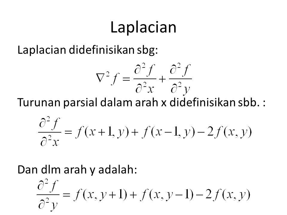 Laplacian Laplacian didefinisikan sbg: Turunan parsial dalam arah x didefinisikan sbb.