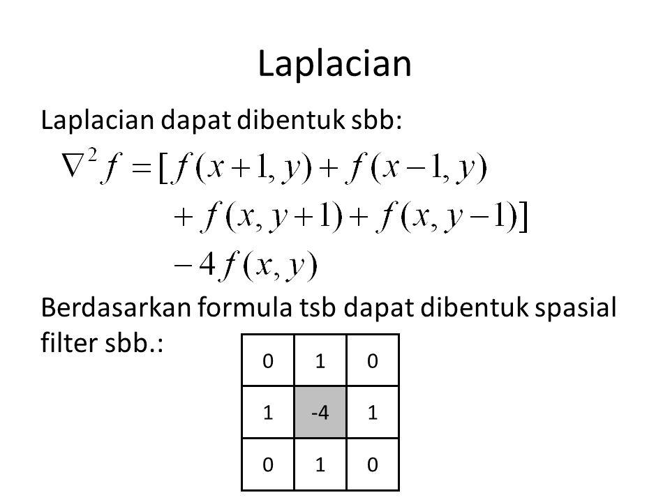 Laplacian Laplacian dapat dibentuk sbb: Berdasarkan formula tsb dapat dibentuk spasial filter sbb.: 010 1-41 010