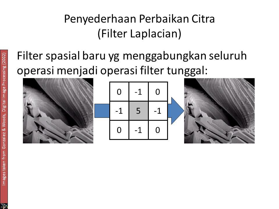 Penyederhaan Perbaikan Citra (Filter Laplacian) Filter spasial baru yg menggabungkan seluruh operasi menjadi operasi filter tunggal: 00 5 0 0 Images taken from Gonzalez & Woods, Digital Image Processing (2002)