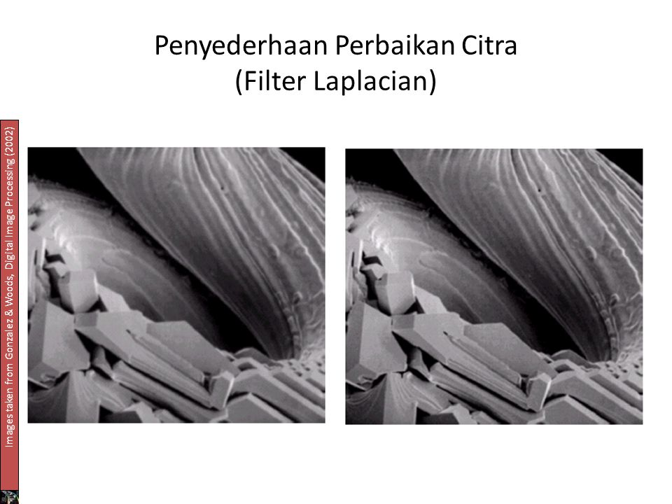 Penyederhaan Perbaikan Citra (Filter Laplacian) Images taken from Gonzalez & Woods, Digital Image Processing (2002)