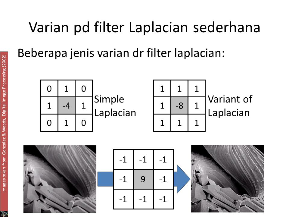 Varian pd filter Laplacian sederhana Beberapa jenis varian dr filter laplacian: 010 1-41 010 111 1-81 111 9 Simple Laplacian Variant of Laplacian Imag