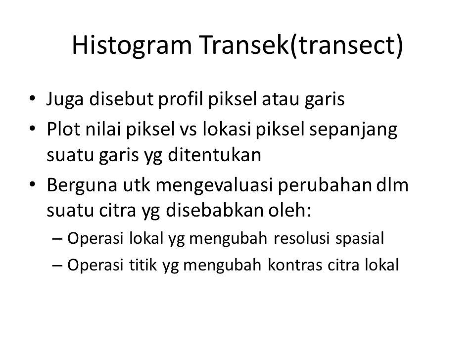 Histogram Transek(transect) Juga disebut profil piksel atau garis Plot nilai piksel vs lokasi piksel sepanjang suatu garis yg ditentukan Berguna utk mengevaluasi perubahan dlm suatu citra yg disebabkan oleh: – Operasi lokal yg mengubah resolusi spasial – Operasi titik yg mengubah kontras citra lokal