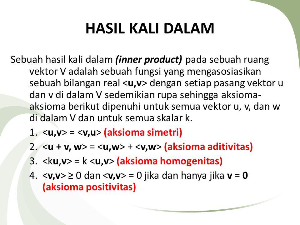 adalah hasil kali dalam antara u dan v Contoh: 1.u=(2,5) dan v=(5,4) = u.
