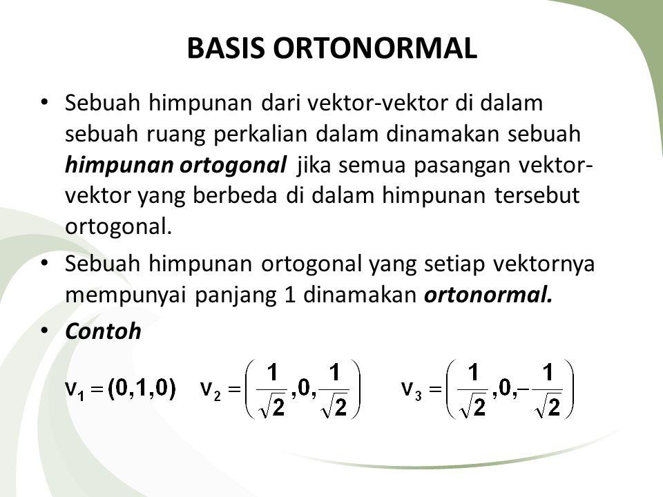 PROSES GRAM-SCHMIDT Teorema Tiap-tiap ruang perkalian dalam berdimensi berhingga yang tak nol mempunyai sebuah basis ortonormal.