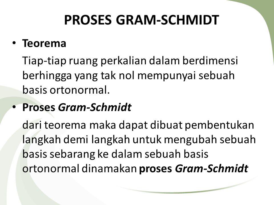 PROSES GRAM-SCHMIDT Teorema Tiap-tiap ruang perkalian dalam berdimensi berhingga yang tak nol mempunyai sebuah basis ortonormal. Proses Gram-Schmidt d