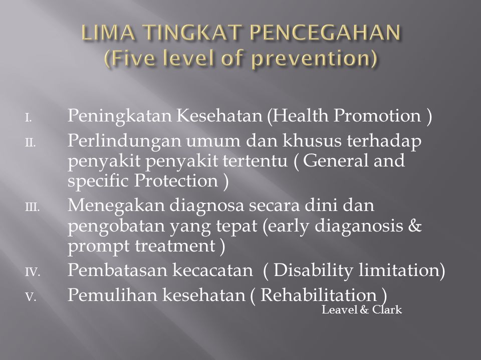 I.Peningkatan Kesehatan (Health Promotion ) II.