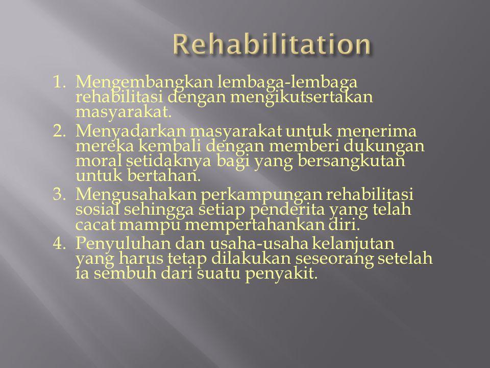 1.Mengembangkan lembaga-lembaga rehabilitasi dengan mengikutsertakan masyarakat.