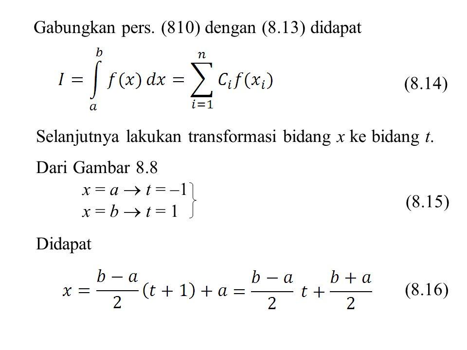 Gabungkan pers. (810) dengan (8.13) didapat Selanjutnya lakukan transformasi bidang x ke bidang t. Dari Gambar 8.8 x = a  t = –1 x = b  t = 1 Didapa