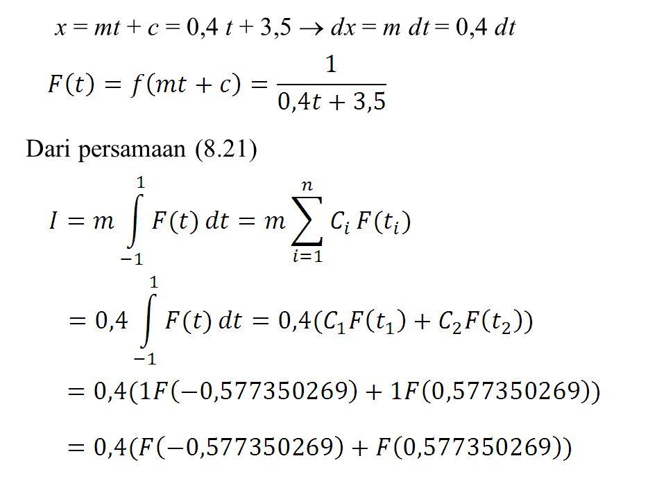 x = mt + c = 0,4 t + 3,5  dx = m dt = 0,4 dt Dari persamaan (8.21)