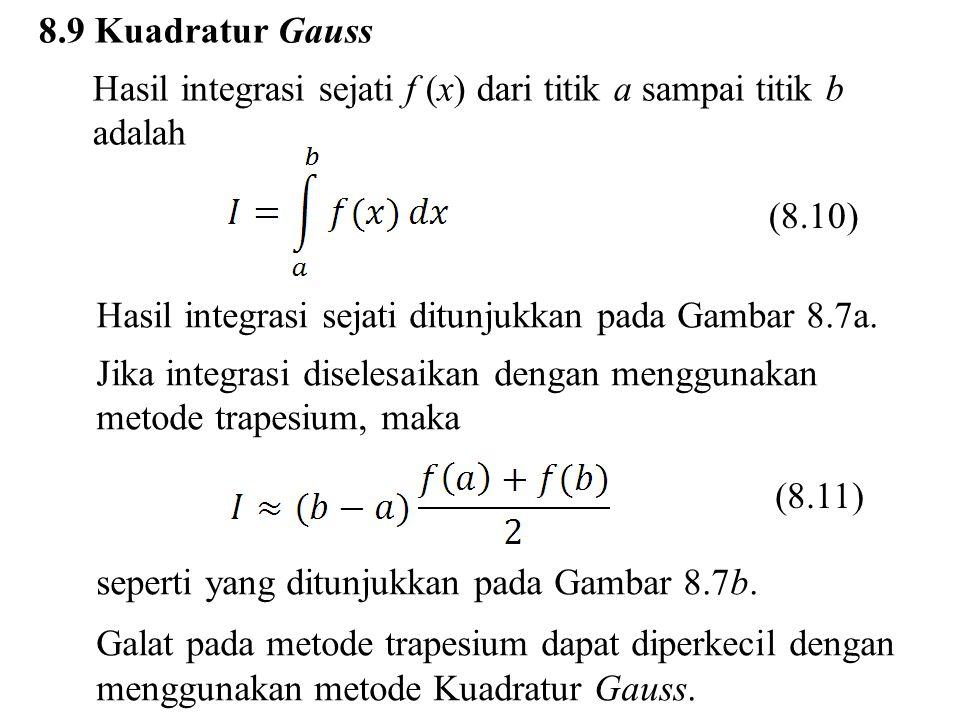 8.9 Kuadratur Gauss Hasil integrasi sejati f (x) dari titik a sampai titik b adalah Hasil integrasi sejati ditunjukkan pada Gambar 8.7a. Jika integras