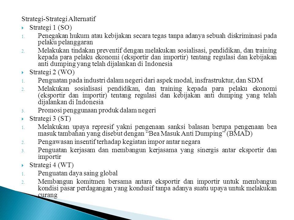 Strategi-Strategi Alternatif  Strategi 1 (SO) 1. Penegakan hukum atau kebijakan secara tegas tanpa adanya sebuah diskriminasi pada pelaku pelanggaran