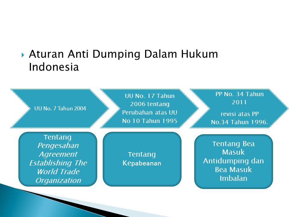  Aturan Anti Dumping Dalam Hukum Indonesia UU No. 7 Tahun 2004 UU No. 17 Tahun 2006 tentang Perubahan atas UU No 10 Tahun 1995 PP No. 34 Tahun 2011 r
