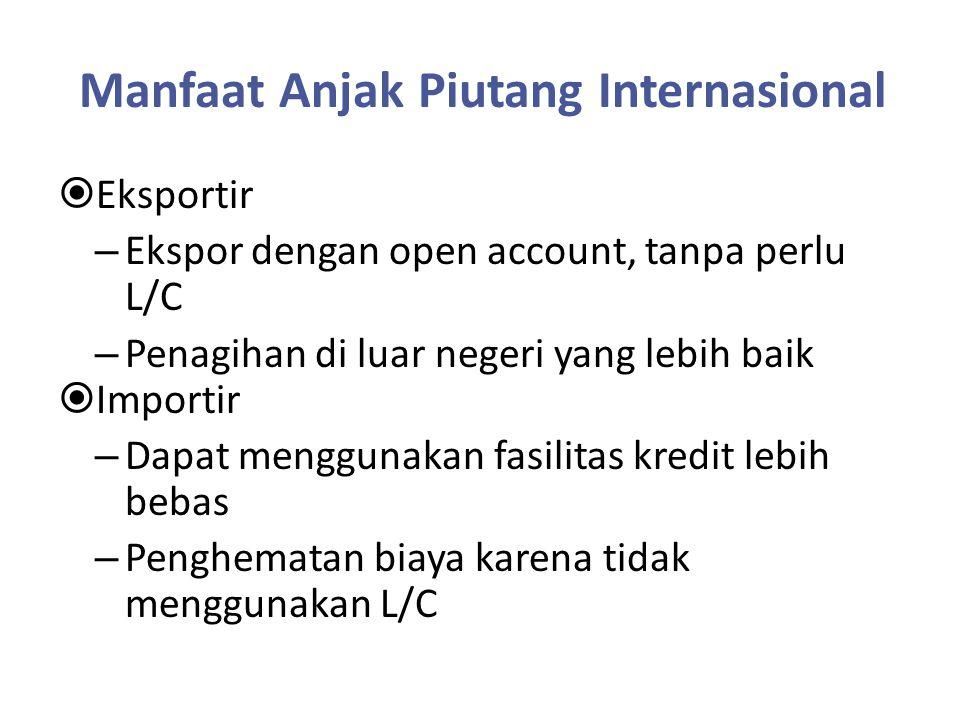 Manfaat Anjak Piutang Internasional  Eksportir – Ekspor dengan open account, tanpa perlu L/C – Penagihan di luar negeri yang lebih baik  Importir –