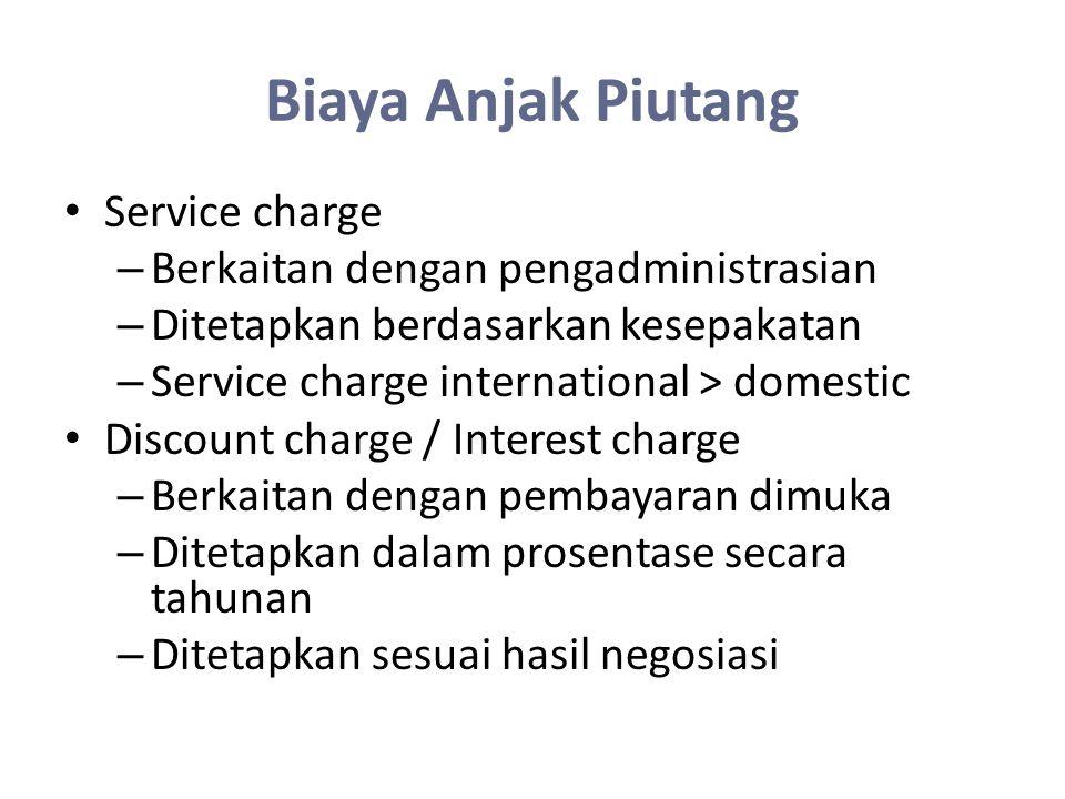 Biaya Anjak Piutang Service charge – Berkaitan dengan pengadministrasian – Ditetapkan berdasarkan kesepakatan – Service charge international > domesti