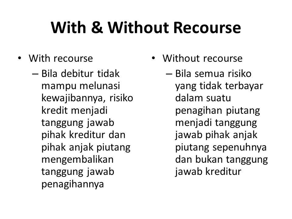 With & Without Recourse With recourse – Bila debitur tidak mampu melunasi kewajibannya, risiko kredit menjadi tanggung jawab pihak kreditur dan pihak