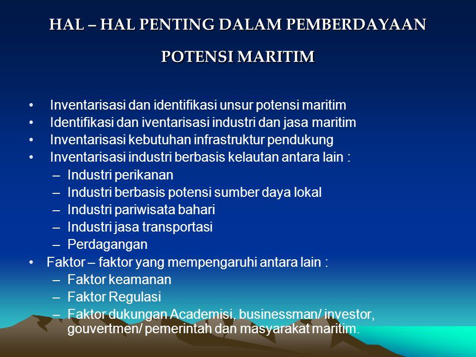 HAL – HAL PENTING DALAM PEMBERDAYAAN POTENSI MARITIM Inventarisasi dan identifikasi unsur potensi maritim Identifikasi dan iventarisasi industri dan j