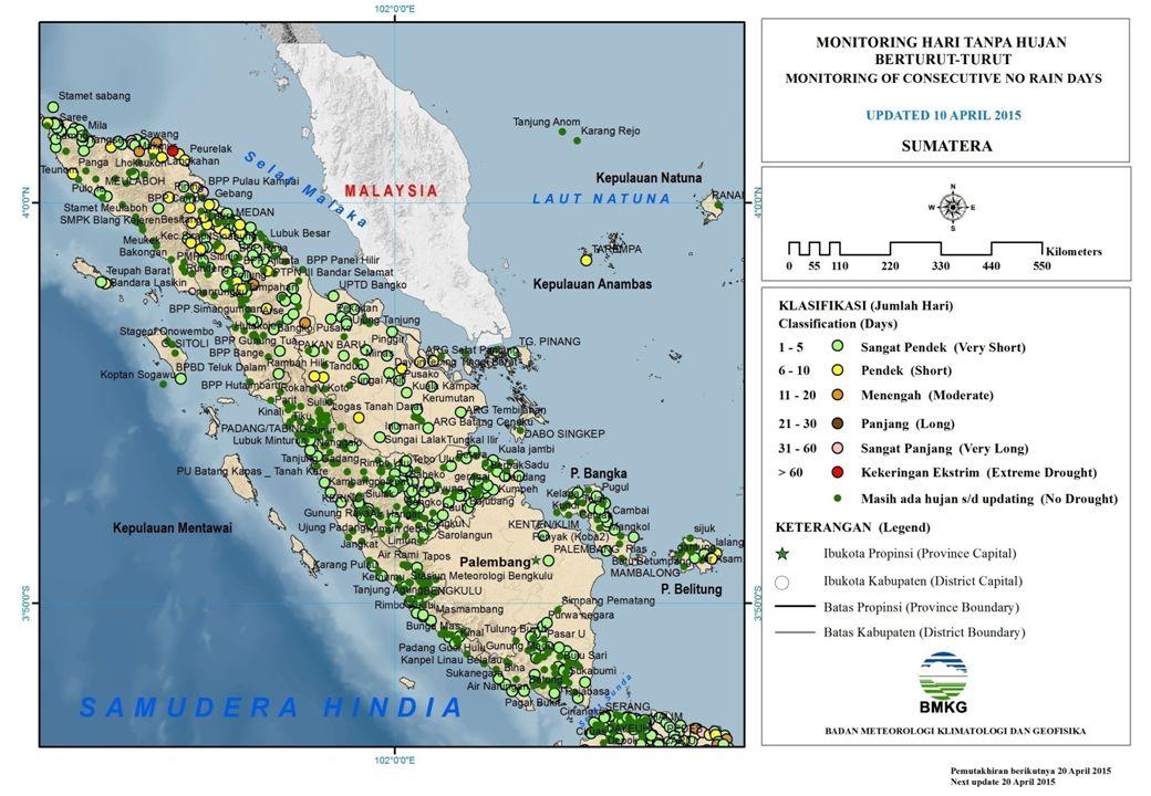 MONITORING HARI TANPA HUJAN BERTURUT-TURUT JAWA UPDATED 10 APRIL 2015 Sangat Pendek (1 – 5) Hari Pendek (6 – 10) Hari Menengah (11 – 20) Hari Panjang (21 - 30) Hari Sangat Panjang (31 - 60) Hari Kekeringan Ekstrim (> 60) Hari Nambo Ng.Kapung Smpk Nglejok Purwodadi Pakisbaru Pg Pancur Rembang Pangen Juru Tengah Patean Curug Pesayangan Rantewaringin Rendole Si Rowoseneng Salaman 1 Sawangan Sedan Simo Bpp Sokawati Srimadono Smpk Staklim Semarang Stamet Tegal Tambi-Kejajar Tawangmangu Tersono Trangkil/Mojoagung Ungaran Taru Budaya Warurejo Watukumpul Jatim Balongpanggang Bangil Bantaran Banyuanyar Kidul Besuki Buduan Caruban Cerme Dam Jepun Dam Jeru Galis Geger Campor Gunung Raung