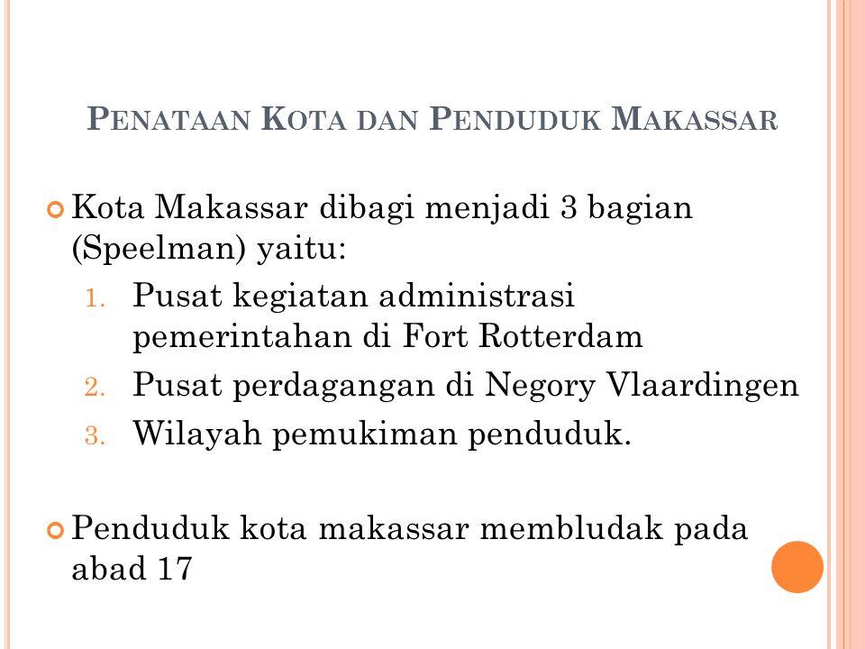 P ENATAAN K OTA DAN P ENDUDUK M AKASSAR Kota Makassar dibagi menjadi 3 bagian (Speelman) yaitu: 1. Pusat kegiatan administrasi pemerintahan di Fort Ro