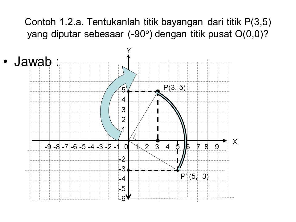 Contoh 1.2.a. Tentukanlah titik bayangan dari titik P(3,5) yang diputar sebesaar (-90 o ) dengan titik pusat O(0,0)? Jawab : P' (5, -3) P(3, 5) -9 -8