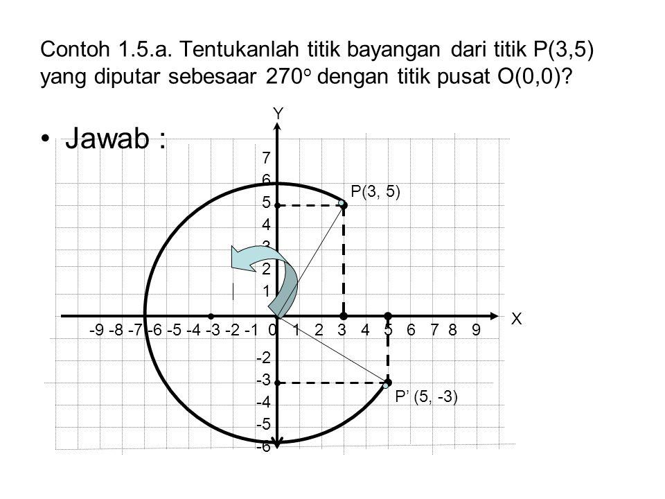 Contoh 1.5.a. Tentukanlah titik bayangan dari titik P(3,5) yang diputar sebesaar 270 o dengan titik pusat O(0,0)? Jawab : P' (5, -3) P(3, 5) -9 -8 -7