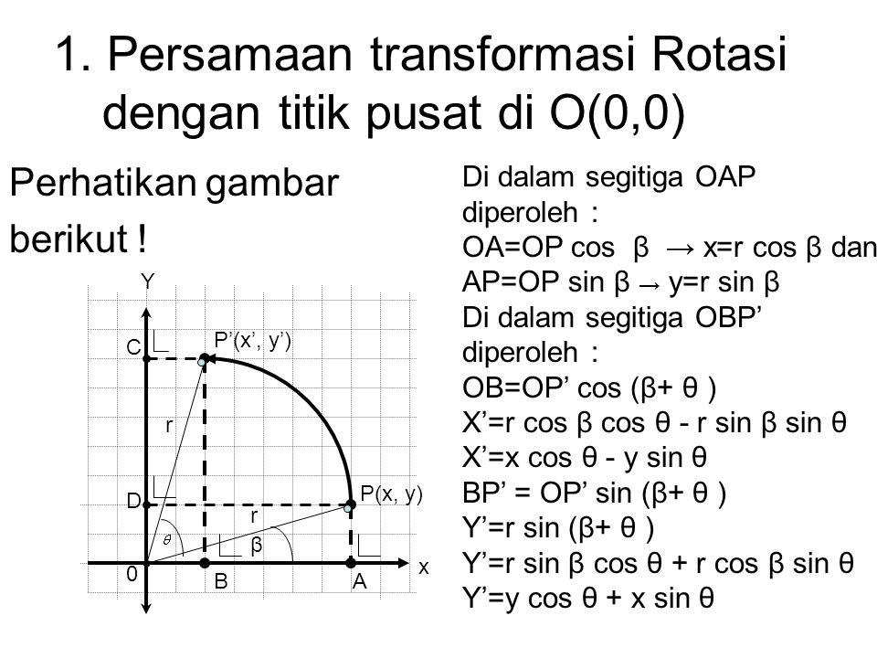 1. Persamaan transformasi Rotasi dengan titik pusat di O(0,0) Perhatikan gambar berikut ! Y P(x, y) P'(x', y') 0 AB C D r r β Di dalam segitiga OAP di