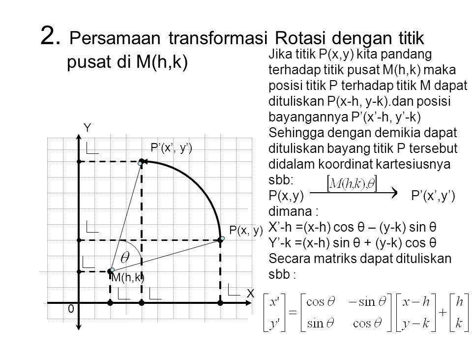 2. Persamaan transformasi Rotasi dengan titik pusat di M(h,k) Y P(x, y) P'(x', y') 0 M(h,k) Jika titik P(x,y) kita pandang terhadap titik pusat M(h,k)