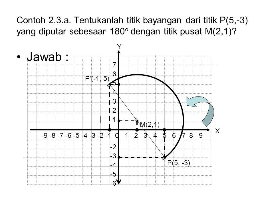 Contoh 2.3.a. Tentukanlah titik bayangan dari titik P(5,-3) yang diputar sebesaar 180 o dengan titik pusat M(2,1)? Jawab : P(5, -3) P'(-1, 5) -9 -8 -7