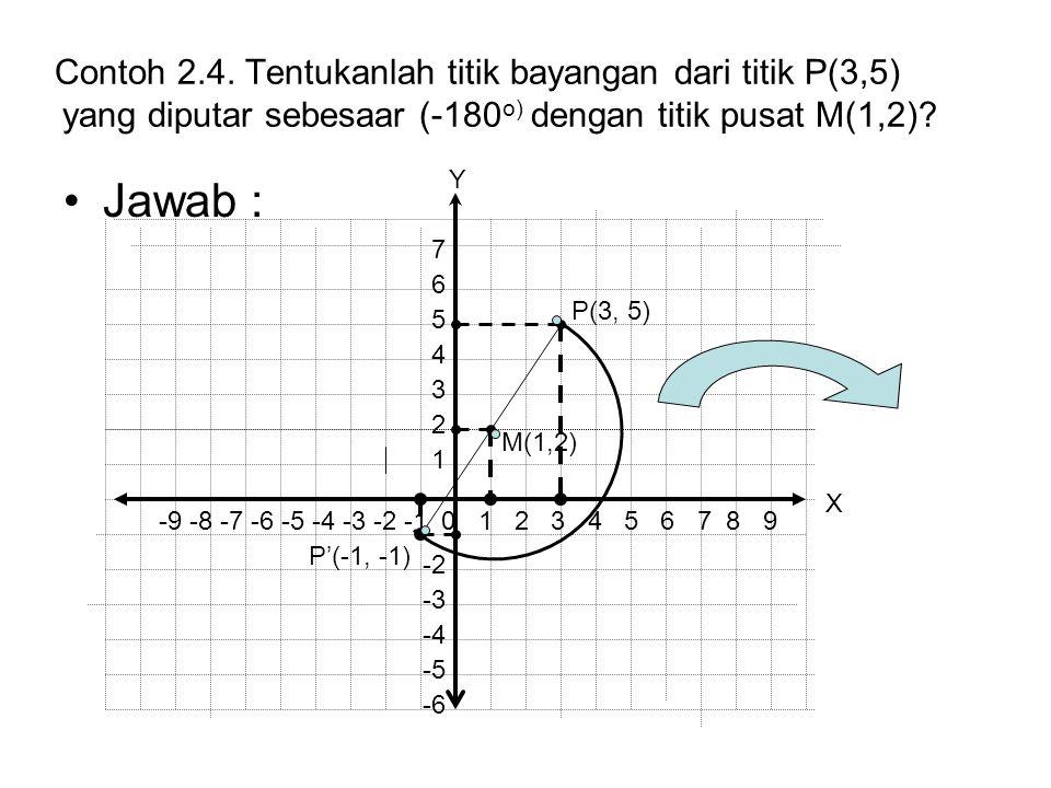Contoh 2.4. Tentukanlah titik bayangan dari titik P(3,5) yang diputar sebesaar (-180 o) dengan titik pusat M(1,2)? Jawab : P(3, 5) P'(-1, -1) -9 -8 -7