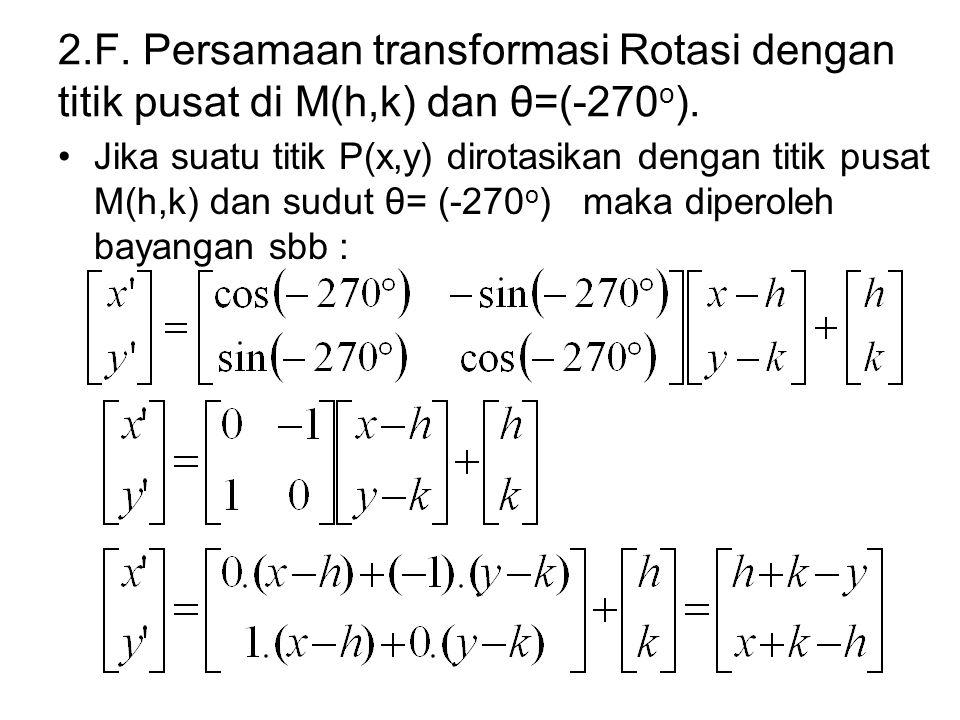 2.F. Persamaan transformasi Rotasi dengan titik pusat di M(h,k) dan θ=(-270 o ). Jika suatu titik P(x,y) dirotasikan dengan titik pusat M(h,k) dan sud
