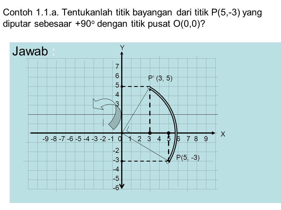 Contoh 1.1.a. Tentukanlah titik bayangan dari titik P(5,-3) yang diputar sebesaar +90 o dengan titik pusat O(0,0)? Jawab : P(5, -3) P' (3, 5) -9 -8 -7